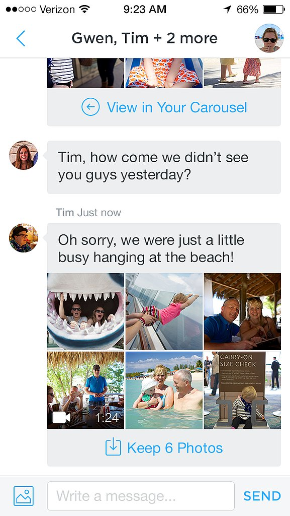 Save friends' photos to your Carousel, or just view in full resolution.