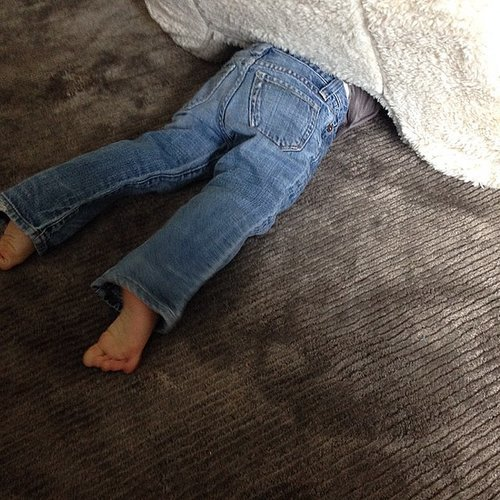 Arthur Bleick found the perfect hiding spot from his mom, Selma Blair. Source: Instagram user therealselmablair