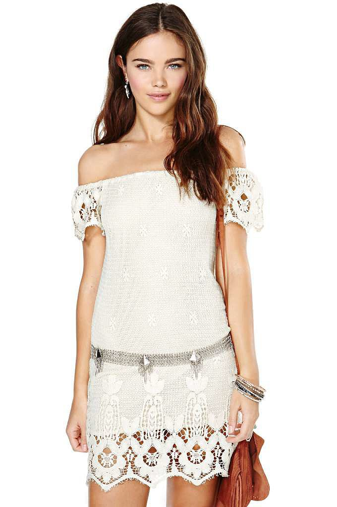 Nasty Gal White Crochet Off-the-Shoulder Dress