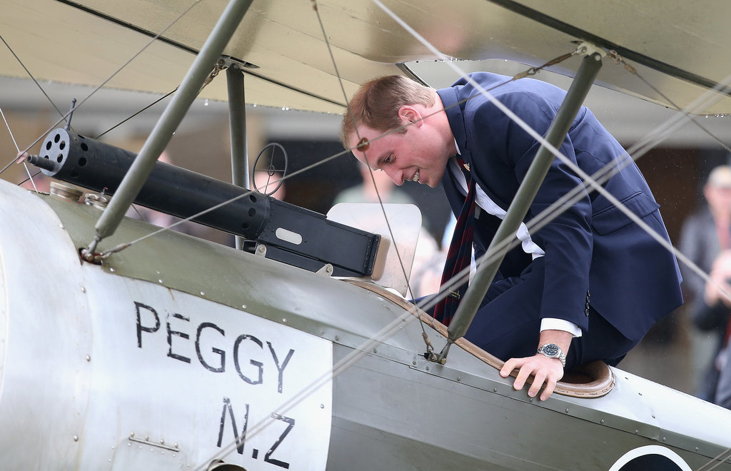 On April 10, William discovered that there is no elegant way to enter a vintage plane during an air show in Blenheim, New Zealand.