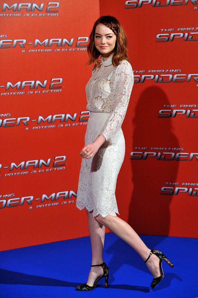 Emma Stone attended a photocall for her latest film, The Amazing Spider-Man 2, in Rome on Monday.