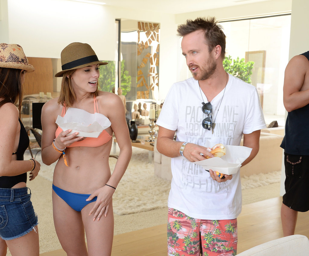 Aaron Paul and Ashley Greene ate Cousins Maine Lobster rolls at the Abbot + Main Estate pool party. Source: Michael Kovac