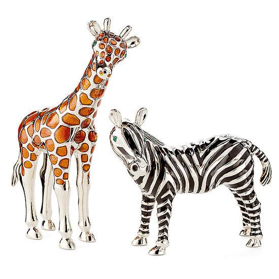 Silver-Plated Giraffe & Zebra Shakers, One Kings Lane