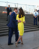 Prince William touched Kate's back at the Sydney Opera House in April 2014.