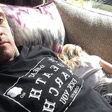 Willow Hart enjoyed some quality nap time with her dad.  Source: Instagram user hartluck