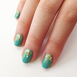 Take Turquoise Polish Up a Notch With This Gilt Glitter Gradient