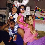 Mariah Carey and Nick Cannon took an adorable Easter-themed photo with their children, Moroccan and Monroe, on Sunday.  Source: Instagram user mariahcarey