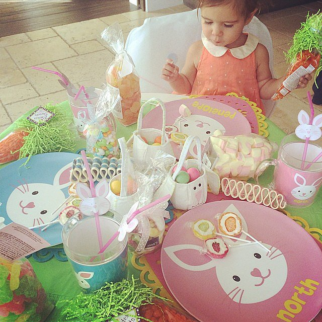 "Kourtney Kardashian got an early start on Easter! On Thursday, she posted a photo of daughter Penelope Disick sitting at a table with gifts from Kris Jenner. ""I have the best mommy! #easterbunny #childhoodmemories,"" Kourtney wrote.  Source: Instagram user kourtneykardash"