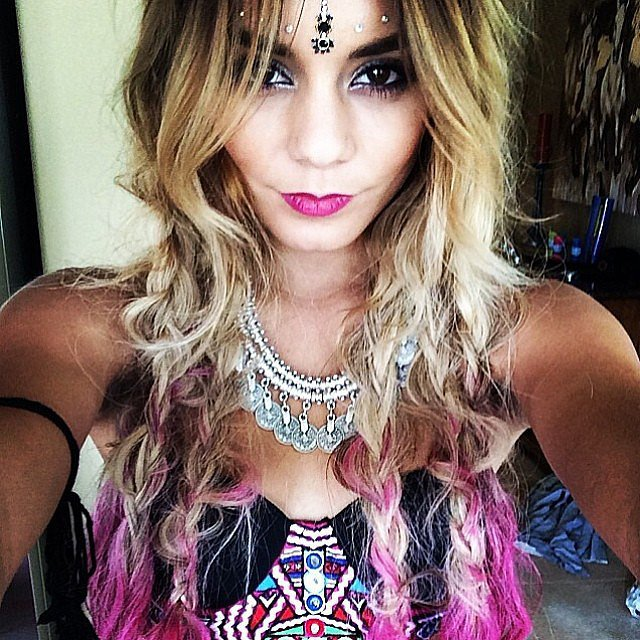 Vanessa Hudgens added pink tips to her newly dyed pink hair for Coachella weekend two. Source: Instagram user vanessahudgens
