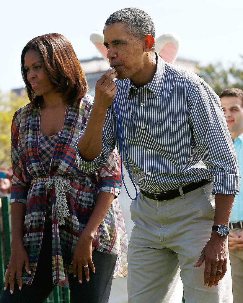 Barack blew a whistle to kick things off.