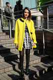 Jessica Alba in Printed Kenzo Dress and Yellow Kenzo Coat