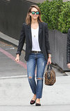 Jessica Alba in Charlotte Olympia Kitty Flats and Leopard A.L.C. Handbag