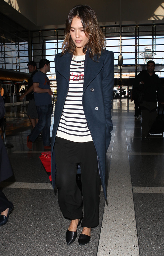 Jessica Alba in Striped Talbots Sweater