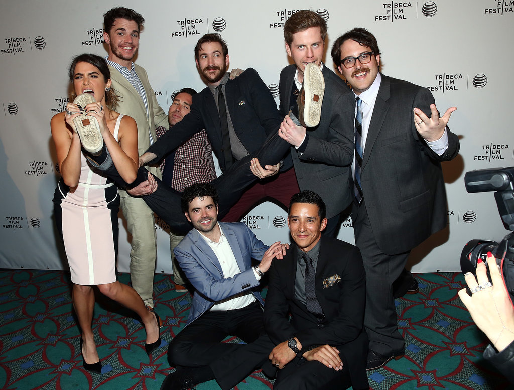 Nikki Reed and Nick Kocher goofed off with their castmates at the premiere of Intramural.