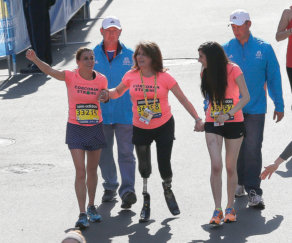 Boston Marathon bombing survivor Celeste Corcoran completed the race alongside her sister and her daughter.