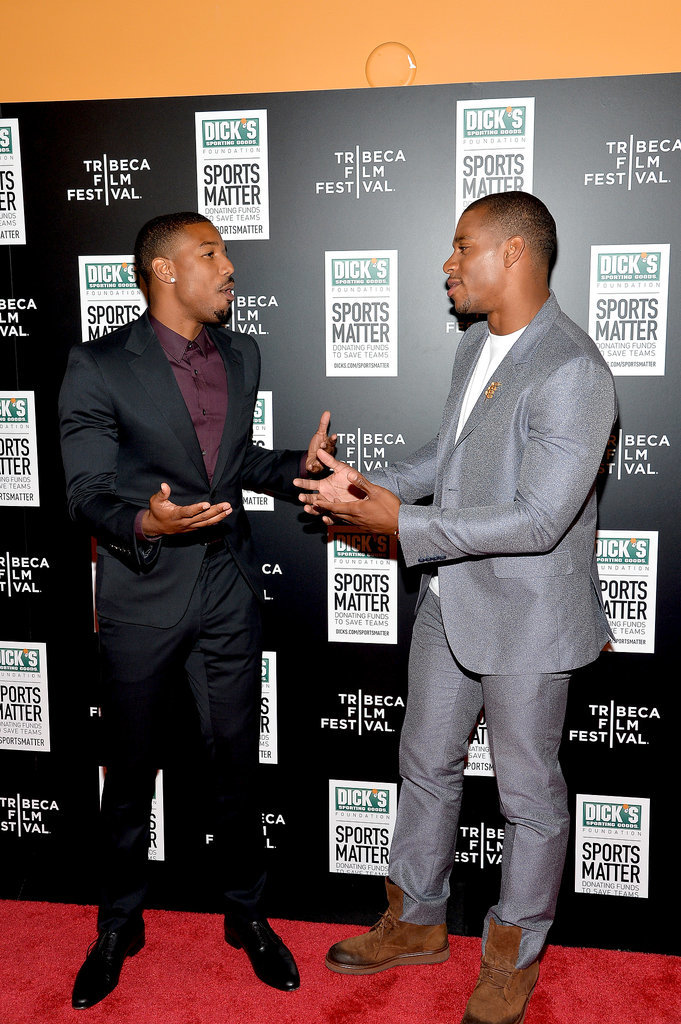 Michael B. Jordan and Victor Cruz goofed off at the We Could Be King premiere.