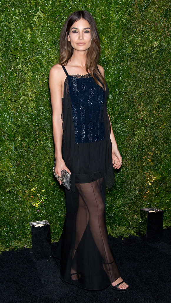 Lily Aldridge struck a pose at the Chanel Artists Dinner.