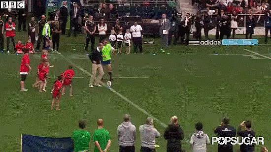 And played rugby with children.