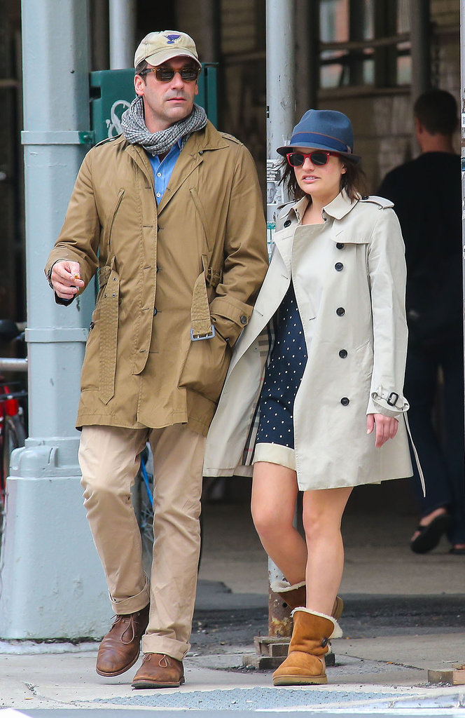 Jon Hamm and Elisabeth Moss headed out for coffee in NYC on Saturday.