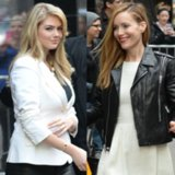 Kate Upton and Leslie Mann Black and White Outfits