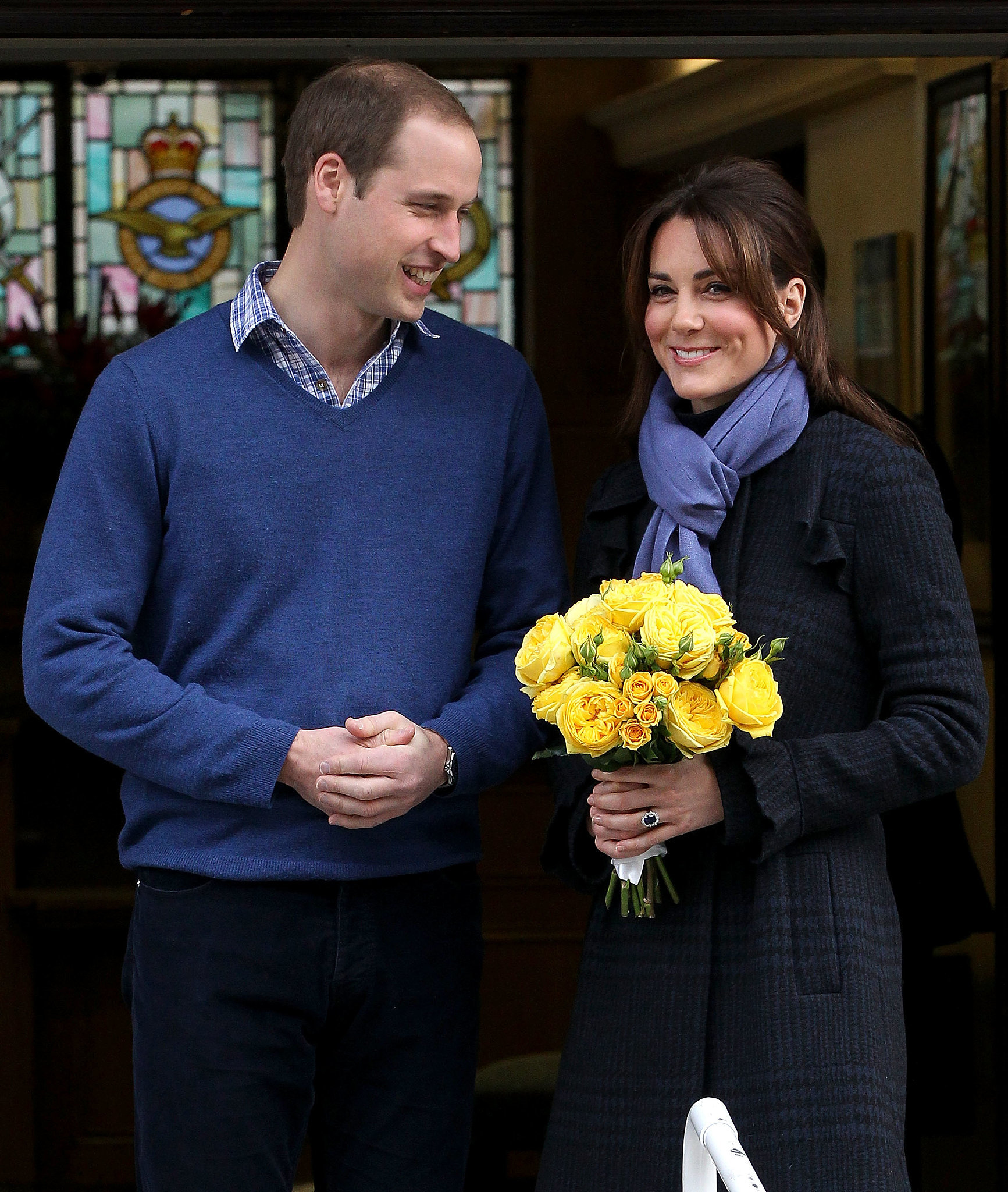In December 2012, Prince William and Kate Middleton looked thrilled to leave the King Edward VII hospital in London after Kate was admitted for acute morning sickness.