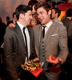 At the afterparty, Zac and Chris chowed down on burgers.