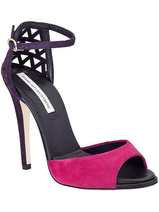Diane von Furstenberg Rowan pink and purple heel sandals ($279, originally $398)