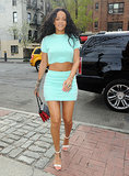 On Monday, Rihanna showed off her toned figure in a turquoise ensemble in NYC.