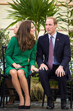 Kate put her hand on William's leg during their April 2014 visit to the National Cycling Centre of Excellence and Avantidrome in New Zealand.