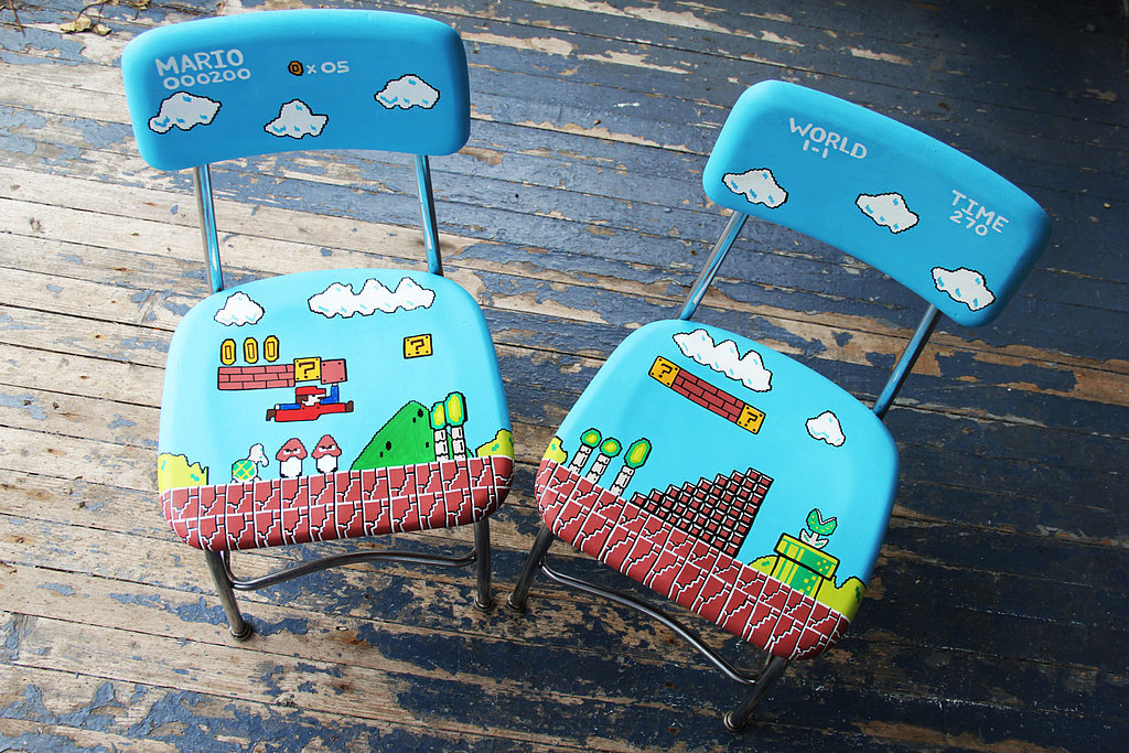 Just picture it now . . . you and a friend playing on this hand-painted Mario chair set ($175). Doesn't get any better.