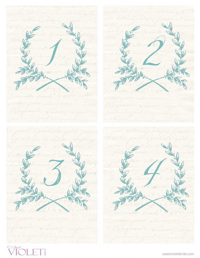 Wheat Wreath Table Numbers