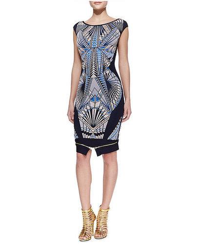 Geometry Zipped Bandage Dress