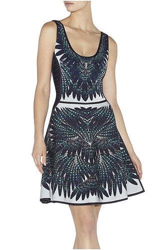 Feather Print A-Line Sleeveless Bandage Dress