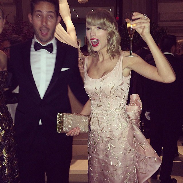 Taylor Swift toasted with some bubbles. Source: Instagram user amytastley
