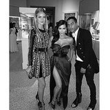 Kim sandwiched herself between model Rosie Huntington-Whiteley and her pal Olivier Rousteing, the designer of Balmain. Source: Instagram user kimkardashian