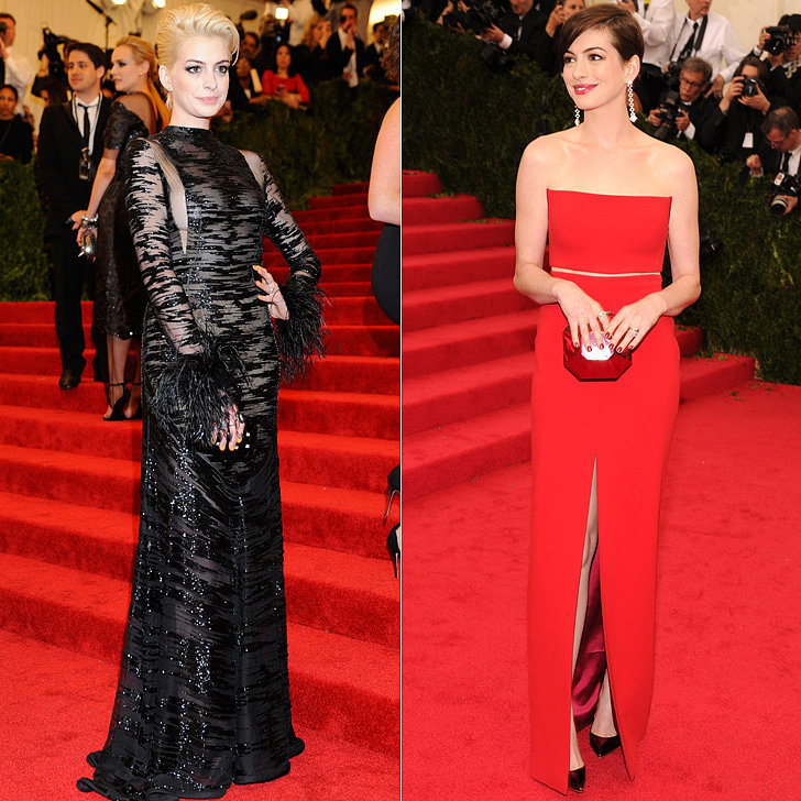 Anne Hathaway at the 2013 and 2014 Met Galas