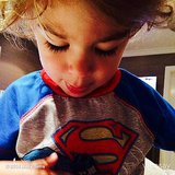Molly Sims felt bad about having to wake up her little Superman. Source: Instagram user mollybsims