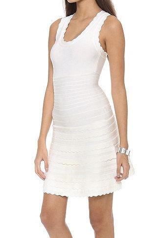 White Scallop-Trim A-Line Bandage Dress