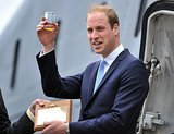 Prince William toasted with a glass of rum at the rededication of the submarine HMS Alliance in Gosport, England, on Monday.