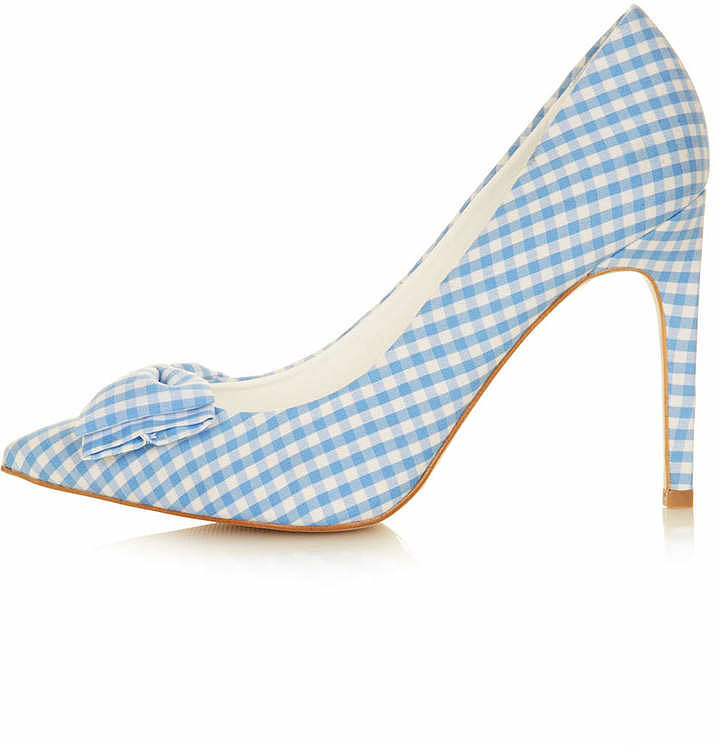 Topshop Gingham-Print Pumps