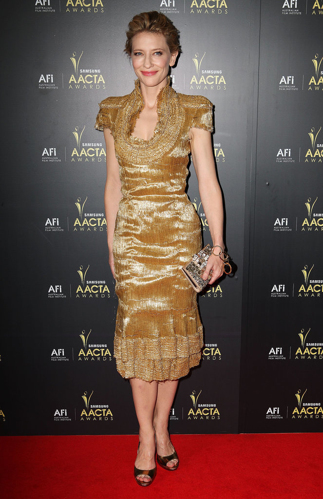 Cate Blanchett in Gold Alexander McQueen at the 2012 AACTA Awards