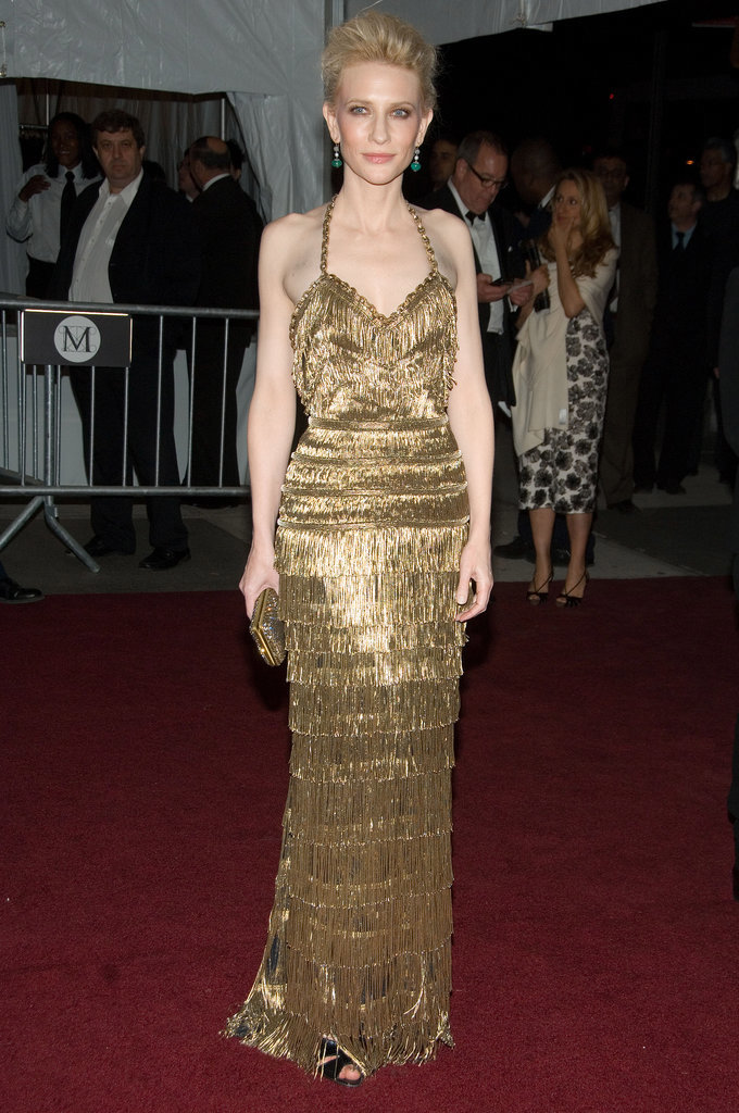 Cate Blanchett in Gold Balenciaga at the 2007 Met Gala