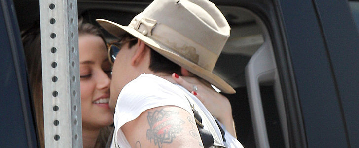 Amber Heard Slips Johnny Depp the Tongue