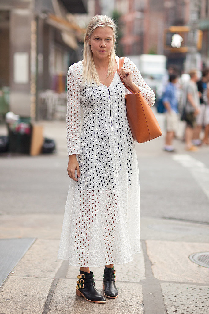 White eyelet doesn't have to feel overly girlie; Jessie Randall mixed hers with a black slip and buckled booties for an unexpected, cool-girl finish.