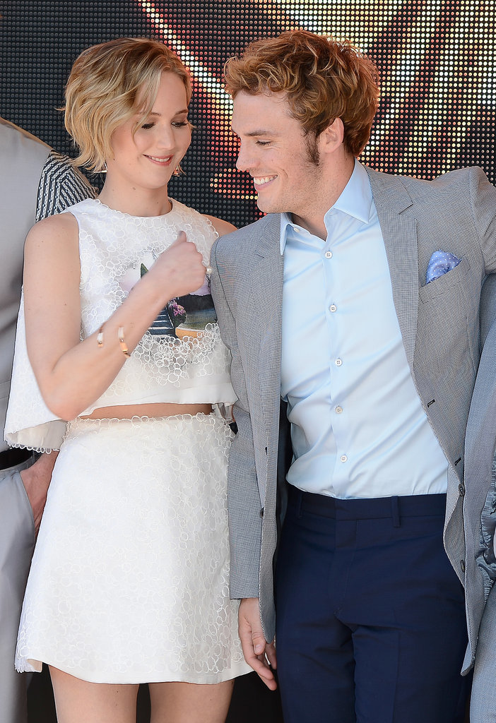 Jennifer and Sam Claflin shared a smiley moment.