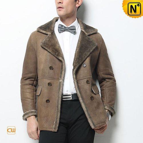Men Sheepskin Shearling Jacket Pea Coat CW877206