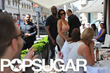 Kanye flashed a smile while greeting fans with Kim.