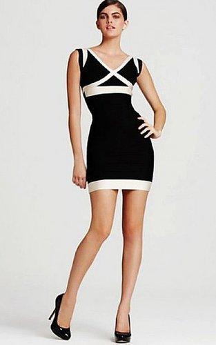 Herve Leger Backless Black White V-neck Bandage Dress