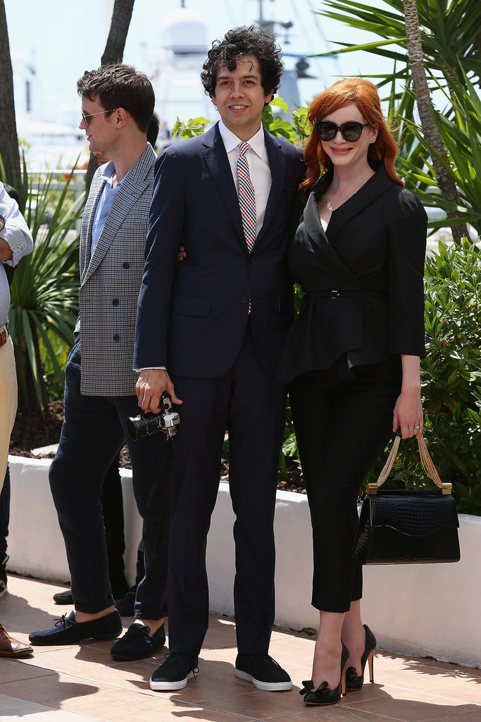 Christina Hendricks arrived at the photocall with Geoffrey Arend.