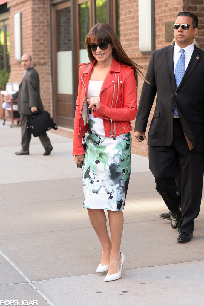 Lea Michele stepped out and waved to fans on Tuesday in NYC.